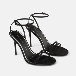 Zara black beaded high heel sandals